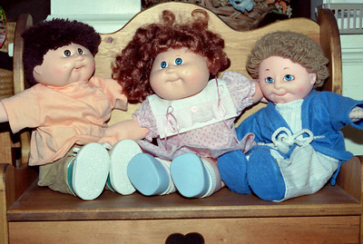 Norma's doll clothes on her Cabbage Patch dolls, Christmas, 1990