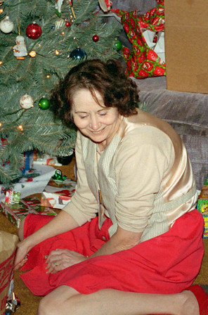 Norma under the Christmas tree. Christmas at Normas, 1996.