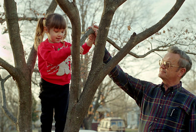 George watches as Kelsey climbs the Japanese Maple in Norma's front yard; Christmas at Normas, 1993.