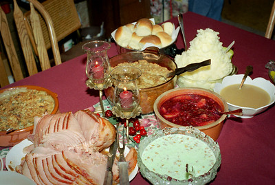 Christmas dinner on the table at Norma's, December 2001.