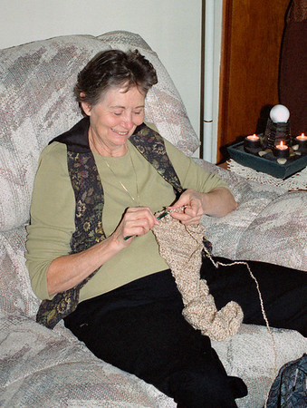 Norma Wright crocheting, Thanksgiving at Cara's, November 2001.