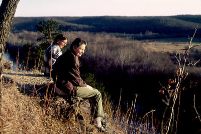 Norma and Rita sit on the cliff tops at Rock Eddy Bluff B&B near Rolla, Missouri. Spring, 2001.