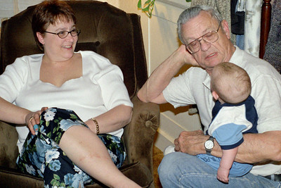 Lisa and George with Baby Wes at Norma's, Spring 2003.