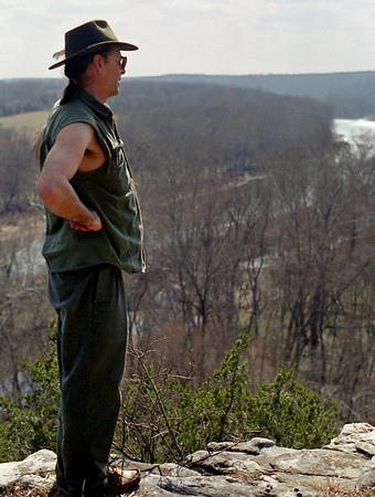 Gary on the cliffs above the Gasconade River at Rock Eddy Bluff, near Rolla, Missouri. Spring, 2001.