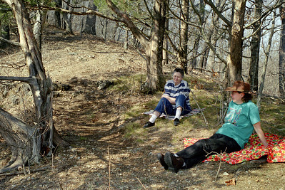 Norma and Rita resting in the woods at Rock Eddy Bluff B&B near Rolla, Missouri. Spring, 2001.