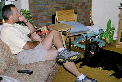 Kevin and Luke, the dog, at Norma's, April 2003.