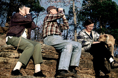 Norma and George watch for birds while Rita pets the dog. Rock Eddy Bluff B&B near Rolla, Missouri. Spring, 2001.