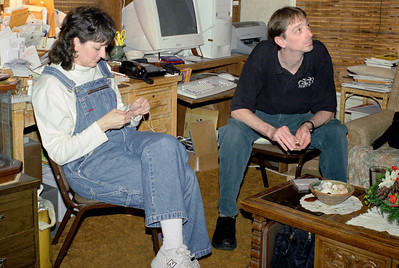 Cara and David, Christmas at Norma's, December 2001.
