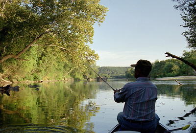 George fishing in the Gasconade River near Rock Eddy Bluff. late summer 2002.