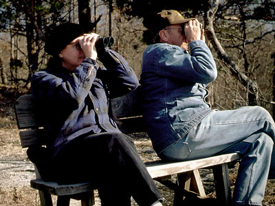 Rita and George birdwatching at Rock Eddy Bluff B&B near Rolla, Missouri. Spring, 2001.