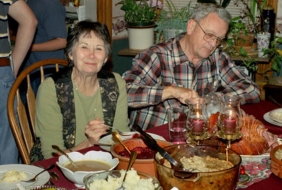 Norma and George Wright at the Christmas table at Norma's, December 2001.
