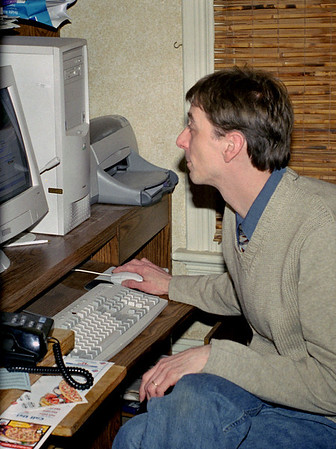 David uses George's computer at George and Norma's. Spring, 2001.