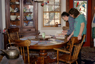 Norma and Rita in the dining room at Rock Eddy Bluff B&B near Rolla, Missouri. Spring, 2001.
