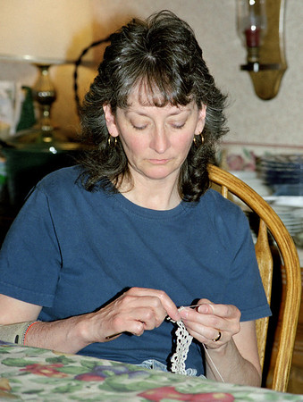 Cara Russell crochetting at Norma's, April 2003.