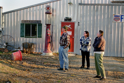 George, Norma and Rita outside the shed at Rock Eddy Bluff B&B near Rolla, Missouri. Spring, 2001.