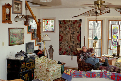 George, reading in the living room at Rock Eddy Bluff B&B near Rolla, Missouri. Spring, 2001.