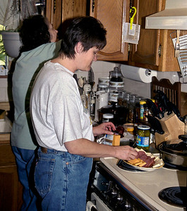 Dana and Norma in Norma's kitchen; April 2003.
