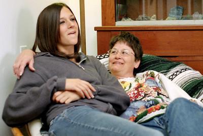 Kelsey and Dana Sanders in Rita's living room on W. Mount Vernon Street. November, 2007.