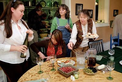 Olivia, Jessica, Cara and Norma; Thanksgiving dinner at Rita's. November, 2007.