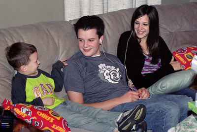 Young Wes, Jake Cornett, and Kelsey Sanders - Christmas at Norma's - 2006.
