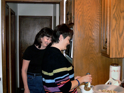 Cara and Dana in the kitchen. Thanksgiving at Cara's, 2005.