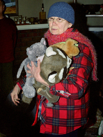 Norma, with stuffed animals. Ice storm, - January, 2007.