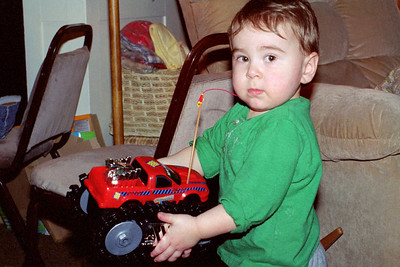 Simon Webster with his new RC truck - Christmas at Norma's - 2006.