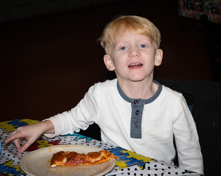 Logan's 5th Birthday Party I interrupted Logan's pizza.