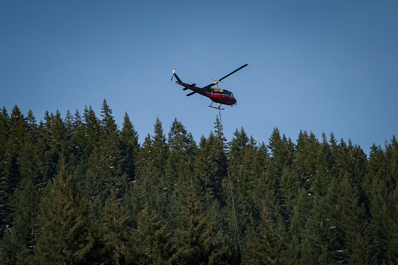 Helicopter Logging Operation over Detroit Lake