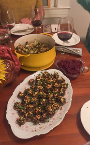 Main course stuffed mushrooms, roasted Brussels sprouts, green beans, and scratch cranerry sauce - Family Thanksgiving in San Francisco
