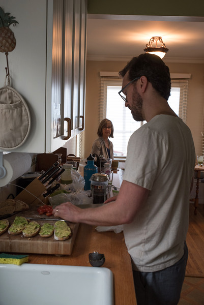 Sean fixing us avacado bread for breakfast at Casa Karmina - Teacher of the Year Awards Luncheon - USC and Venice