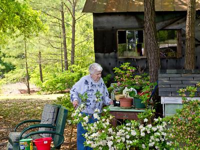 Easter 2011  - Mom tending to her flowers