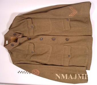 Leon Mirsky's WWI U.S. Army Wool Service Jacket with Service Chevrons (for 1 year at war overseas).