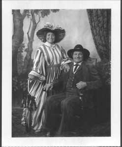 Evelyn Hirsch nee Mirsky and Mike Mogul, dressed up in old western costumes, ca. 1990.