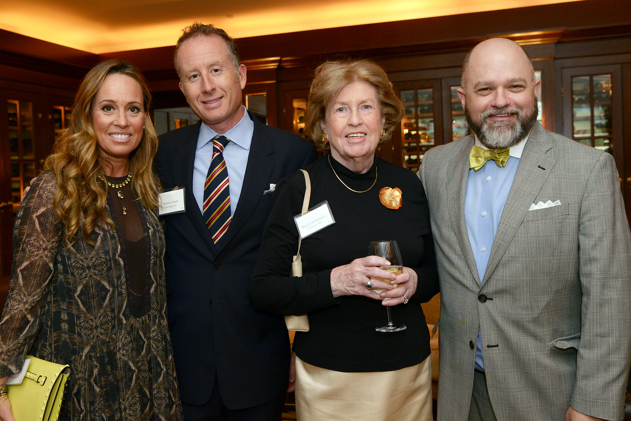Patron Members Tracy and Matthew Smith of Palm Beach, Fla., with Mary Ford Kingsley of Wellesley, Mass, and Brenton Simons, President and CEO of New England Historic Genealogical Society.