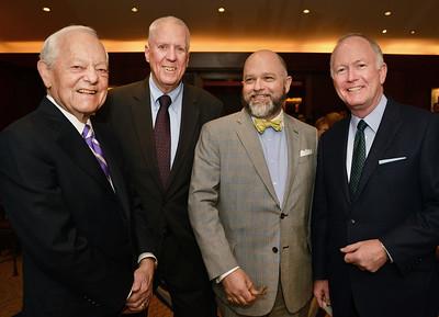 Honorees Bob Schiefferand David Hartman with Brenton Simons and emcee Bill Griffeth.