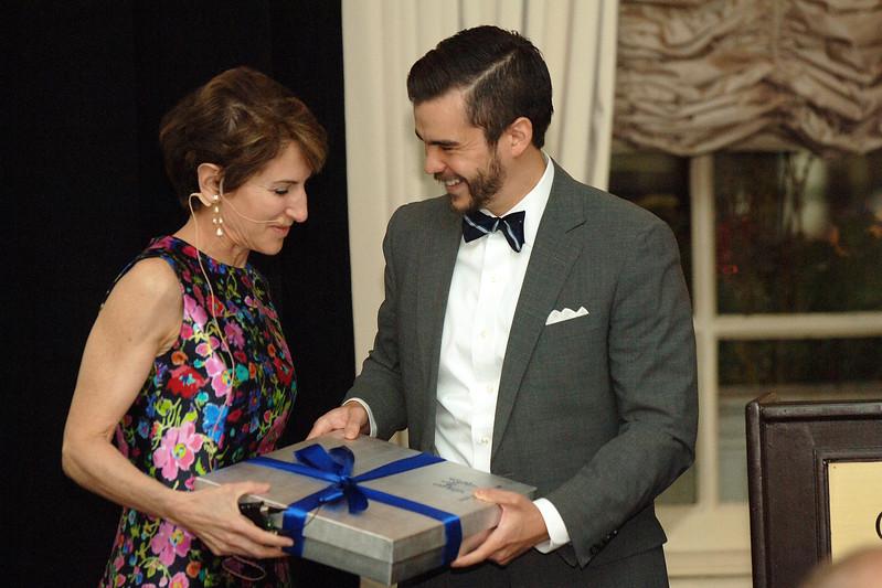 Ryan Woods presents Stacy Schiff with the Lifetime Achievement Award