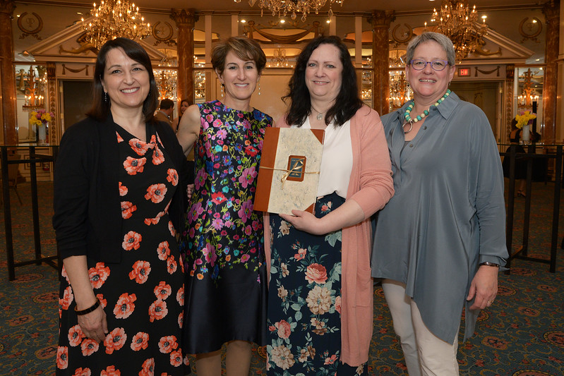 Stacy Schiff with the team that produced her genealogy: Nancy Bernard, Rhonda McClure, and Sharon Inglis