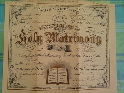 David Estep and Mary Haynes Marriage Certificate