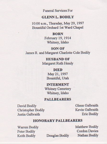 Glenn Leroy Bodily Funeral Services