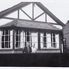 Isabel Gregg Hendy and Mrs. Johnson (friend) outside the Bungalow.<br /> August, 1950