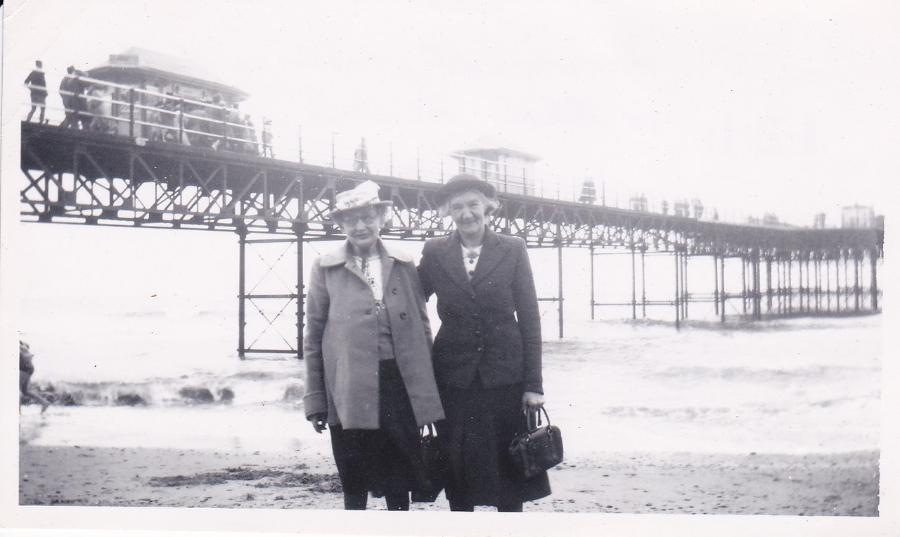 Isabel Gregg Hendy and Mrs. Johson near the Pier at Rhyl, Wales <br /> August 1950