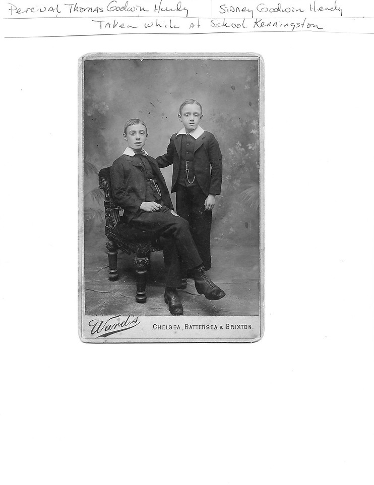 Percival Thomas Hendy (seated) and Sidney Godwin Hendy (standing) while at boarding school.