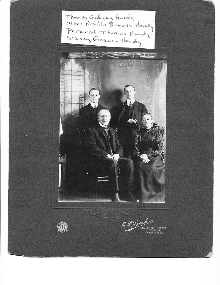 Seated:  Thomas Godwin Hendy (left), Clara Rosetta Lewis Hendy (right)<br /> Standing:  Sidney Godwin Hendy(left), Percival Thomas Hendy (right)