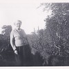 Isabell Gregg Hendy in the back of the bungalow.<br /> August, 1950