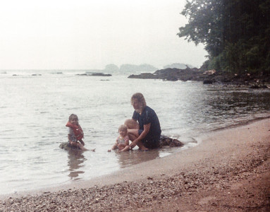 Playing in the water on the shoreline just northeast of Portobello with Aimee and Tiffany 1983