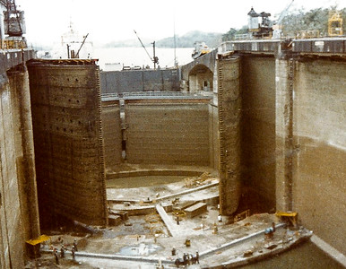 Panama Canal Lock doors (north end) being repaired.