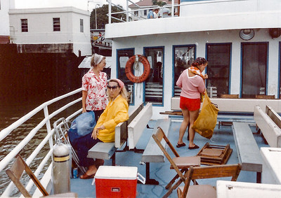 Mom, Becky and I on Ferry to Taboga island for Dad's diving competition