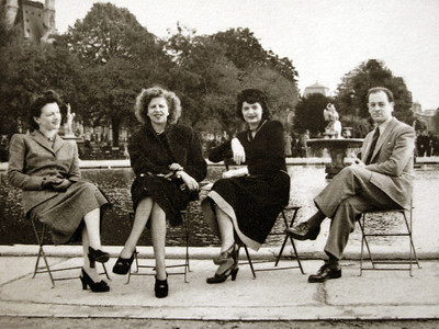 Djema, Mignon, Mady and Jenia (Dad) in Paris  1949