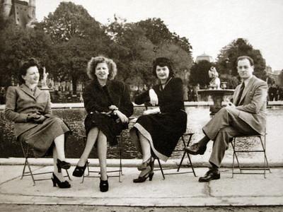 Djema, Mignon, Mady and Jenia (Dad) in Paris  1949
